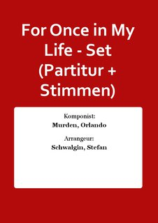 For Once in My Life - Set (Partitur + Stimmen)
