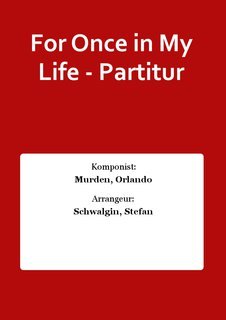 For Once in My Life - Partitur
