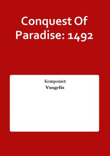Conquest Of Paradise: 1492