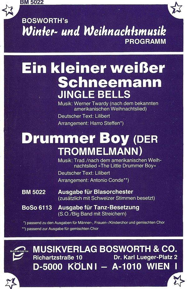 Jingle Bells Ein kleiner weißer Schneemann / Drummer Boy Der ...