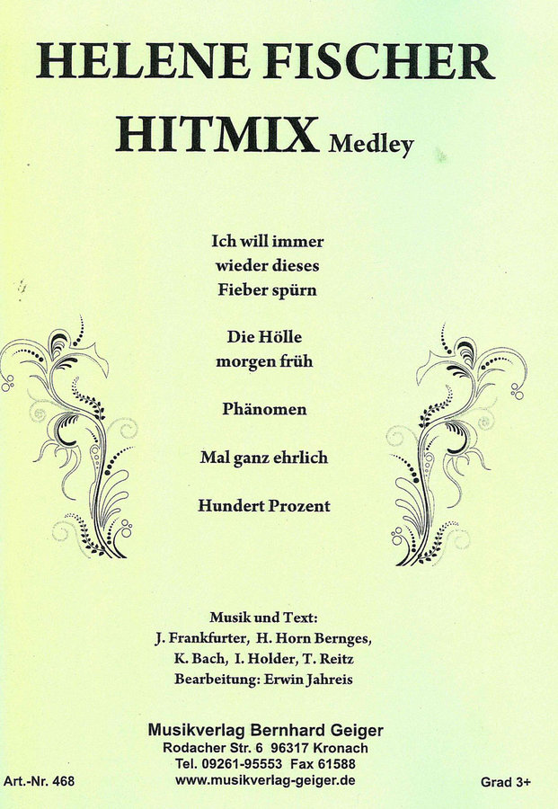 Helene Fischer Hitmix-Medley   Noten - Schlager   Arr. Erwin Jahreis