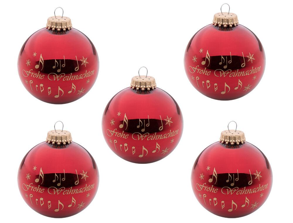 5er-Set Weihnachtskugeln Frohe Weihnachten 7cm | Wohnen & Haushalt ...